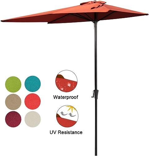 COBANA Half Patio Umbrella 7.5 by 4 Rectangular Outdoor Umbrella for Patio, Balcony, Garden, Deck, Brick Orange
