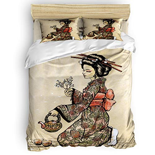 Full 4 Piece Bedding Set for Girls Boys Children Adult, Japanese Style Painting Geisha is Making Tea Duvet Cover Set Ultra Soft and Easy Care Sheet Quilt Sets with Decorative Pillow Covers]()