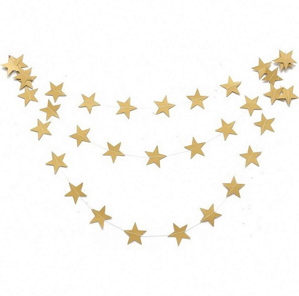 Binwwede Pentagram Paper Flag for Party Supplies Star Ornaments Home Decoration (Gold)