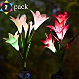 Outdoor Solar Lights, Solar Garden Lights - 2 Pack Lily Solar Powered Flower Lights Stake Lights for Garden Decorations, Patio,Yard Decoration, Multi-Color Changing Lawn Solar Lights Solar Panel