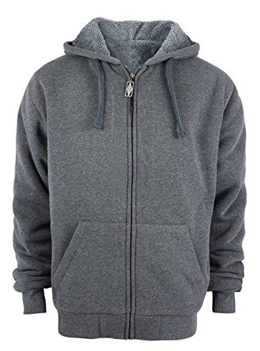 (Men's Thick Warm Zipper Up Sweatshirt Coat Jacket Grey US 4XL/Lable 5XL)