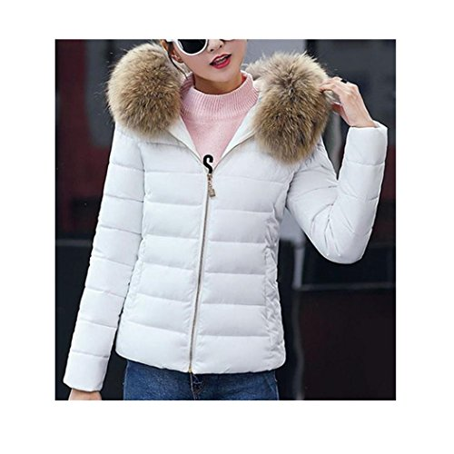 Anxinke Women's Winter Warm Long Sleeve Zip Up Slim Fit Jackets Cotton Coat With Fur Hood
