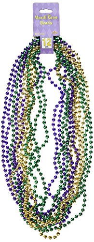 Mardi Gras Small Round Beads (asstd gold, green, purple)    (12/Card) (Parade Quality Costume)