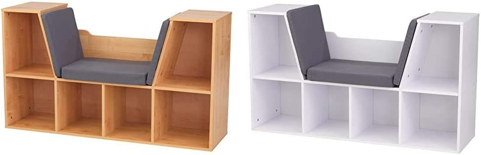 KidKraft Bookcase with Reading Nook - Natural & Bookcase with Reading Nook Toy, White, 46.46%22 x 15.16%22 x 5.04%22