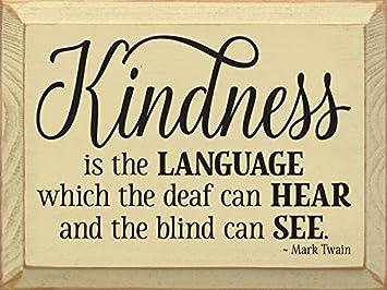 Amazon.com: Cartel de madera: amabilidad es el lenguaje que ...