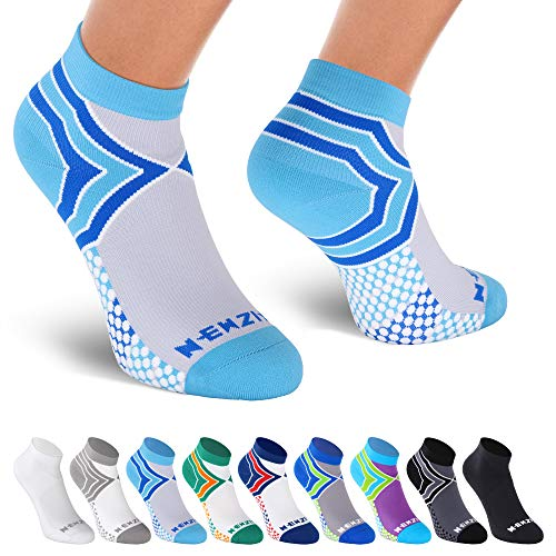 NEWZILL Low Cut Compression Socks - Unisex Running Socks with Embedded Frequency Technology for Heel, Ankle & Arch Support (Medium, Light Blue/Grey)