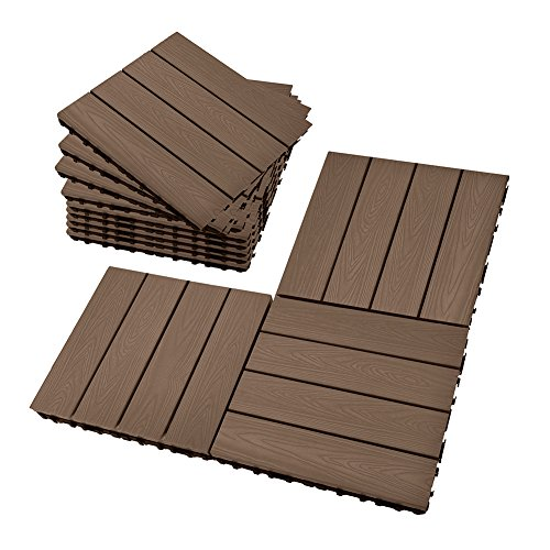 Set of 12 Interlocking Patio Flooring Tiles in Coffee, Indoor Outdoor Deck and Patio Flooring Wood-plastic Material Composite Tile, 12 x 12 Inch - Pvc Flooring