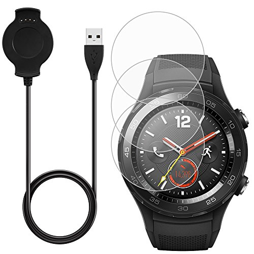 AFUNTA Charger & 3 Pcs Screen Protectors Compatible Watch 2, 3ft/1m Replacement Charging Cable Cradle Dock Stand with Tempered Glass for Classic Sport Smart Watch-Black