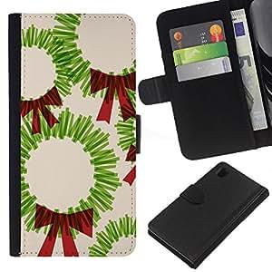BearCase / Cuero de la tarjeta la carpeta del tirón Smartphone Slots Protección Holder /// Sony Xperia Z1 L39 /// Navidad de arte Dibujo Verde Rojo Bow