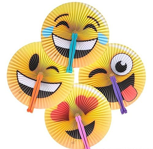 "Price comparison product image 24 Pack - 10"" Emoji Face Paper Folding Fans - Party Favors, Goody Bags, Stocking Stuffers, Theme Parks, Concerts, Prizes, Pool, Beach, Easter Baskets"