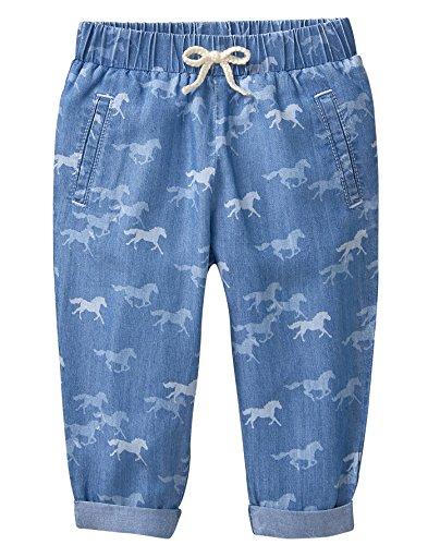 - Gymboree Baby Girls Horse Print Denim Pants, Chambray, 2T