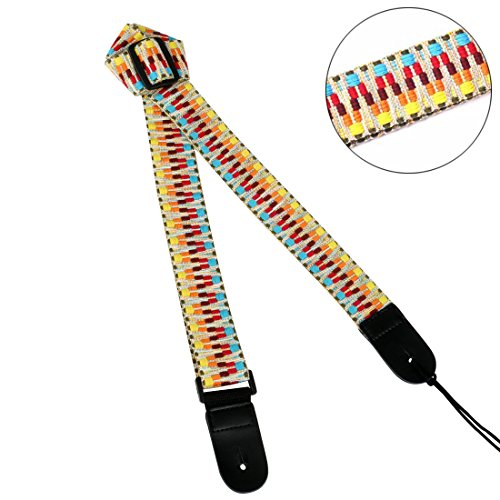 - Jacquard Weave Hootenanny Style Electric Guitar Strap Acoustic Strap Bass Strap Ukulele Strap with Tie, Leather Ends C2