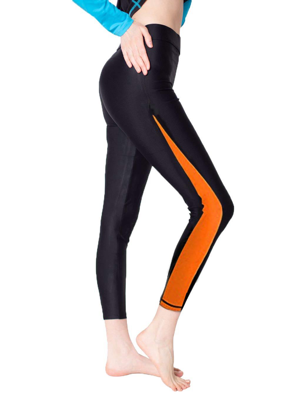 Scodi Women's Surfing Leggings Swimming Tights (S, Orange)
