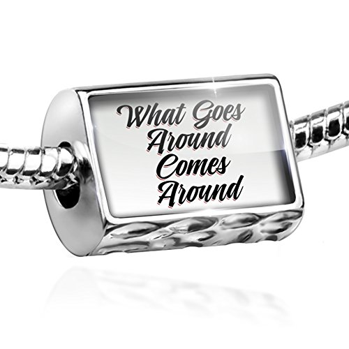 (NEONBLOND Bead Vintage Lettering What Goes Around Comes Around Charm Fits All European Bracelets)