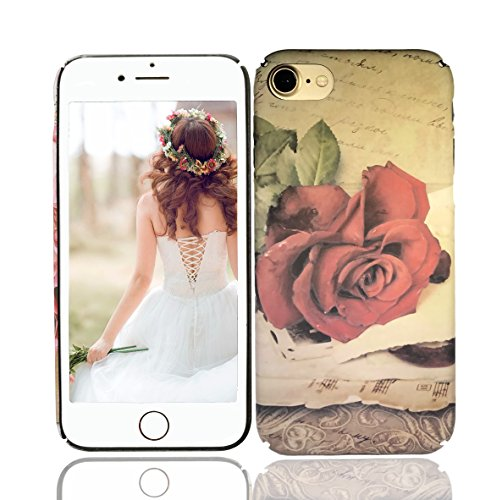 iPhone 8 Case, iPhone 7 Case, Vivafree Girl [Premium Floral Series] Flower Design with TPU Bumper - Slim Fit Silky Soft Flexible Silicone Cover Cellphone Case - Rose (Design Silicone)