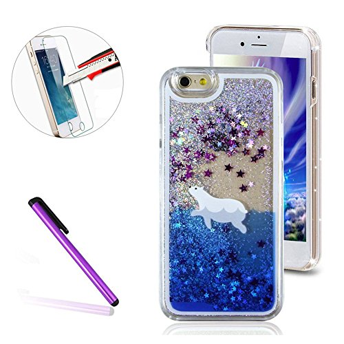 iPhone 7 Plus Case,ISADENSER PC 3D Glitter Flowing Liquid Floating Moving Hard Protective Case for iPhone 7 Plus [+1 Stylus Pen +1pcs Screen Protector Film] Silver Polar Bear (Bear Films)