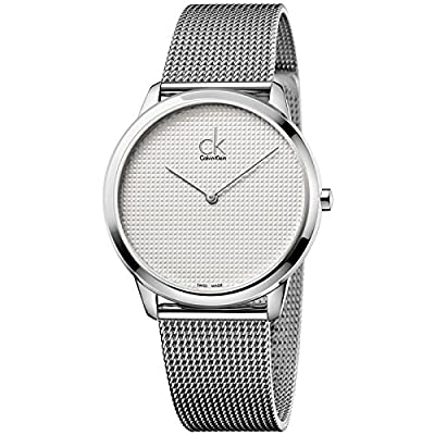 Calvin Klein Gray Men's Minimal Swiss Stainless Steel Mesh Bracelet Watch 40mm K3m2112y