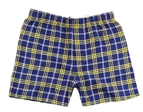 Boxercraft Cotton Flannel Plaid Boxer Sleep Shorts, L, Navy/Gold -UNISEX SIZE