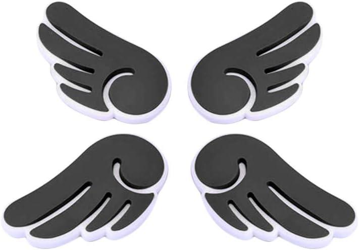 Black Shentesel 4Pcs Car Protection Sticker Angel Wings Door Edge Guard Anti-Scratch Bumper Strip Decor