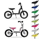Bulldog bat 12' balance bike for 2-4 yr olds - high quality 3 yr warranty - top spec with drum brake, footrest, bike stand - 30% off due to small concussion marks from transit (black/grey)
