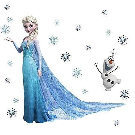 Queen Elsa Frozen Wall Stickers Olaf Decorative Decal Cartoon Wallpaper Kids Decoration Christmas