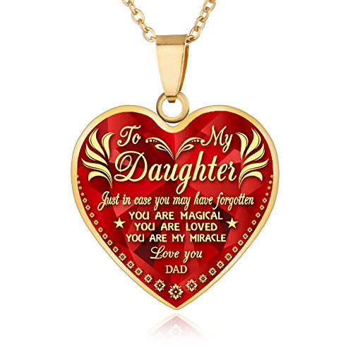 FAYERXL Gift Ideas to My Daughter from Dad Mom,Daddy Mommy Loves You Heart Necklace Quote Wedding Gift (dad to Daughter Gold)