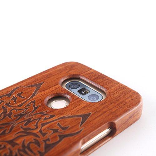 para LG G2 Wood Case, Vandot 2 en 1 Funda Madera Real Rigida Cubierta Carcasa Protectiva Tapa Trasera Anti-Shock Caja del teléfono móvil para LG G2, Diseño del árbol de coco Madera 09