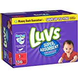 Health & Personal Care : Branded Luvs Super Absorbent Leakguards Diapers, Size 1, 136 Diapers , Weight 8-14lbs - Branded Diapers with fast delivery (Soft and Comfortable for Babies)