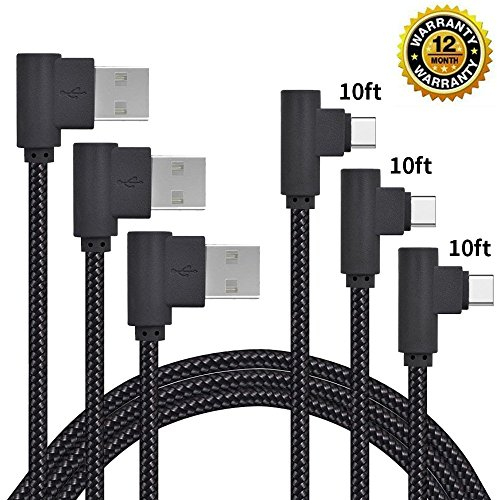 USB Type C Cable, CTREEY 90 Degree 3 Pack 10ft Nylon Braided Long Cord USB Type A to C Charger for Macbook, LG G6 V20,Google Pixel, Nexus 6P, Nintendo Switch, ()