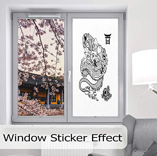 TecBillion Privacy Window Film Decorative,Japanese Dragon,for Glass Non-Adhesive,Tattoo Art Style Mythological Dragon Figure Monochrome Reptile,24''x48''