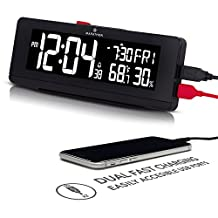 MARATHON CL030063BK 256 Colour Changing LED Display Alarm Clock with 2 Fast Charging USB Ports, Date, Temperature & Humidity