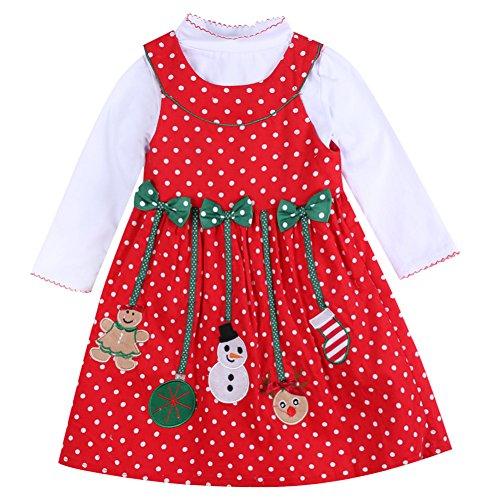 Baby Girls Christmas Dress Long Sleeve Polka Dot Snowman Xmas 2pcs Outfits (6-7 Years, Red)