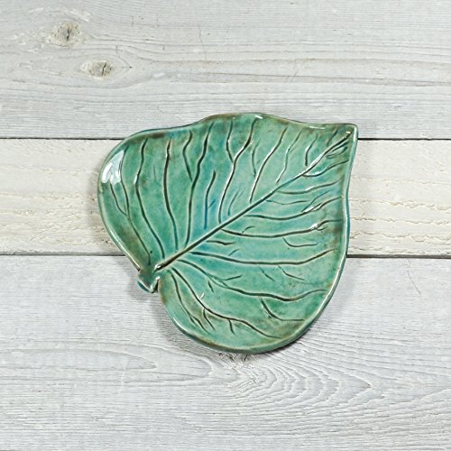 Pottery Leaf - Small Spoon Rest - Ring Dish - Handmade by Cocoa Marie Pottery