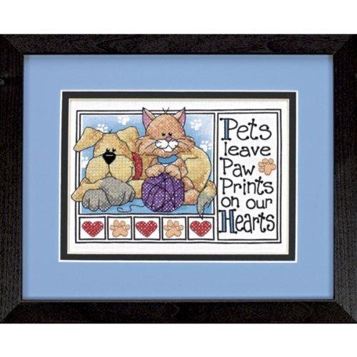 Paw Prints Stamped Cross Stitch Kit