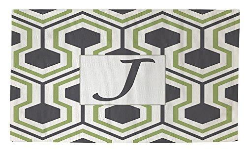 Thumbprintz Dobby Bath Rug, 4 by 6-Feet, Monogrammed Letter J, Grey Honeycomb