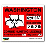 Washington WA Zombie Hunting License Permit Red - Biohazard Response Team - Window Bumper Locker Sticker