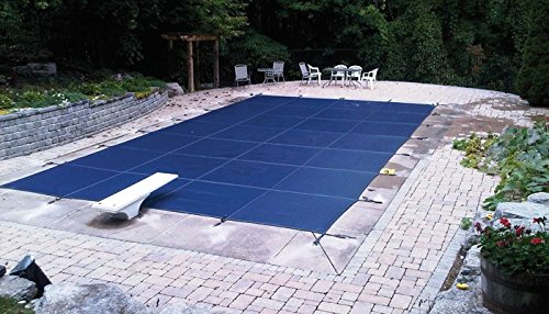 Winter Pool Cover Yard Guard - 16'x32' Blue Mesh - CES Rectangle Inground Safety Pool Cover - 15 Year Warranty - 16 ft x 32 ft In Ground Winter Cover with 4'x8' Center End Steps