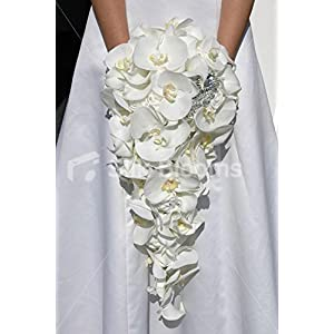 Pure White Orchid Rose, Calla Lily Long Cascading Bridal Bouquet 96