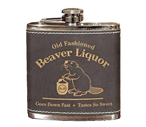 - Old Fashioned Beaver Liquor 6oz Leather Flask