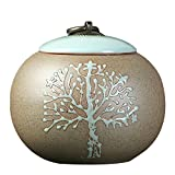 wjdyc Funeral Urns for Ashes Adult by Cremation Urns for Human Ashes Adult - Ceramics and Hand-Painted - Display Burial Urns at Home or in Niche at Columbarium (Tree of Life Medium Size
