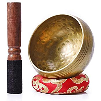 Biggo Tibetan Singing Bowl Set - With Mallet & Silk Cushion- Perfect resonance Meditation Yoga & Chakra Healing Handmade Bowl .Perfect Gift