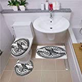Bath mat Set Round-Shaped Toilet Mat Area Rug Toilet Lid Covers 3PCS,Ride The Wave,West Coast California United States of America Grunge Vintage Stamp Print Decorative,Grey White,3D Digital,Printing