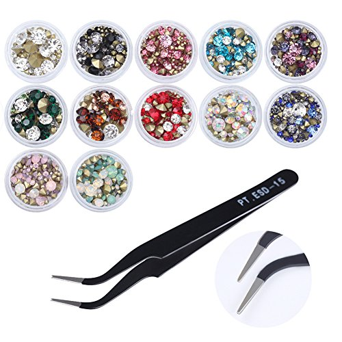 CoulorButtons 12 Boxes 3.5g Multi-size Sharp Bottom Rhinestone 3D Nail Decoration With 1Pcs Curved Rhinestone Eyelash Nippers Tweezer (Rhinestone Eyes Brooch)