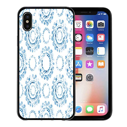 Emvency Phone Case for Apple iPhone Xs case,Paint Hand Watercolor Blue Cyanotype Medallion Ornamental Allover Pattern Circle for iPhone X Case,Rubber Border Protective Case,Black