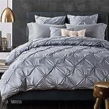 6-Piece Bedding Sets- Duvet Cover, Flat Sheet, Pillowcase Set, California King, Gray