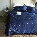 DB&PEISHI Floral 4 Piece Poly/Cotton Yarn Dyed Poly/Cotton 1pc Duvet Cover 2pcs Shams 1pc Flat Sheet , dark blue , 220cm240cm