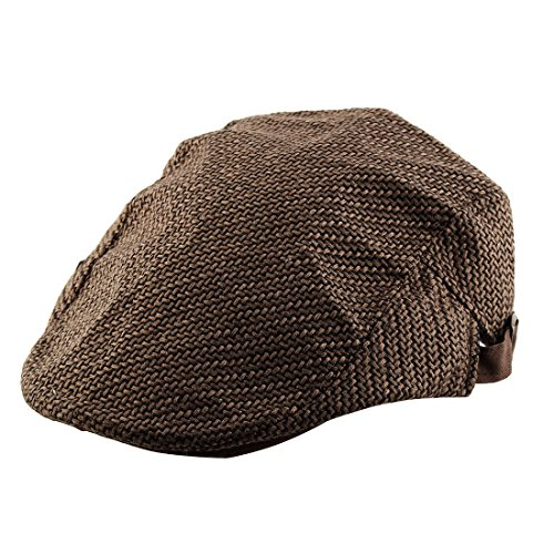 uxcell Men Women Vintage Style Newsboy Linen Ivy Cap Cabbie Driving Golf Casual Flat Beret Hat Coffee ()