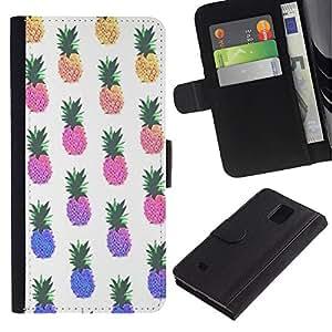 Billetera de Cuero Caso Titular de la tarjeta Carcasa Funda para Samsung Galaxy Note 4 SM-N910 / pineapple yellow weed 420 pattern / STRONG