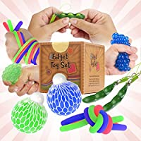 Fidget Sensory Toys for for Autism, ADHD. 2 Stress Relief Balls, 2 Soybean Squeeze, 2 Flippy Chain and 3 Large Size...