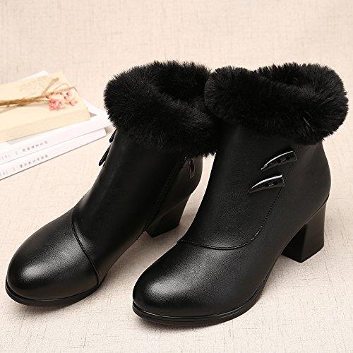 Shukun Bottes Bottes Bottes Shukun des mères Bottes d'hiver des Femmes épaisses avec épaissie avec des Bottes Martin Chaussures pour Femmes Chaussures en Coton Chaussures d'âge Moyen 39|Black T 5f64c2